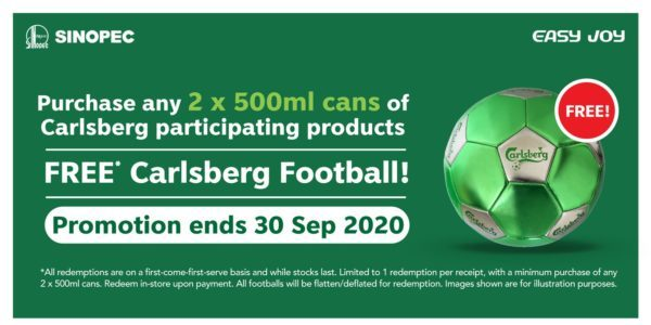 Sinopec Singapore FREE* Carlsberg Football @ All Stations Promotion ends 30 Sep 2020