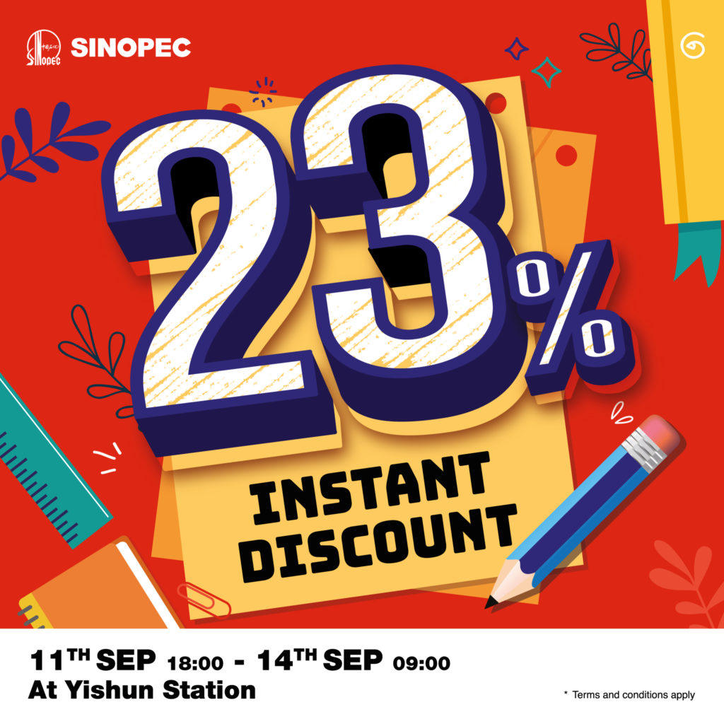 Sinopec Singapore Instant Savings @ Yishun 23% Off Promotion 11-14 Sep 2020   Why Not Deals