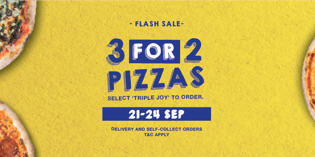 Spizza Singapore Flash Sale September 3 For 2 Pizzas Promotion 21-24 Sep 2020