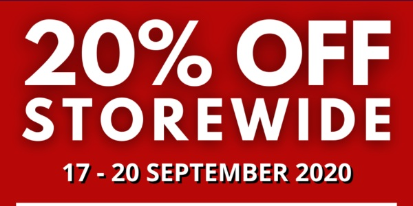 THE PLANET TRAVELLER 20% STOREWIDE SALE – 17 TO 20 SEPTEMBER 2020