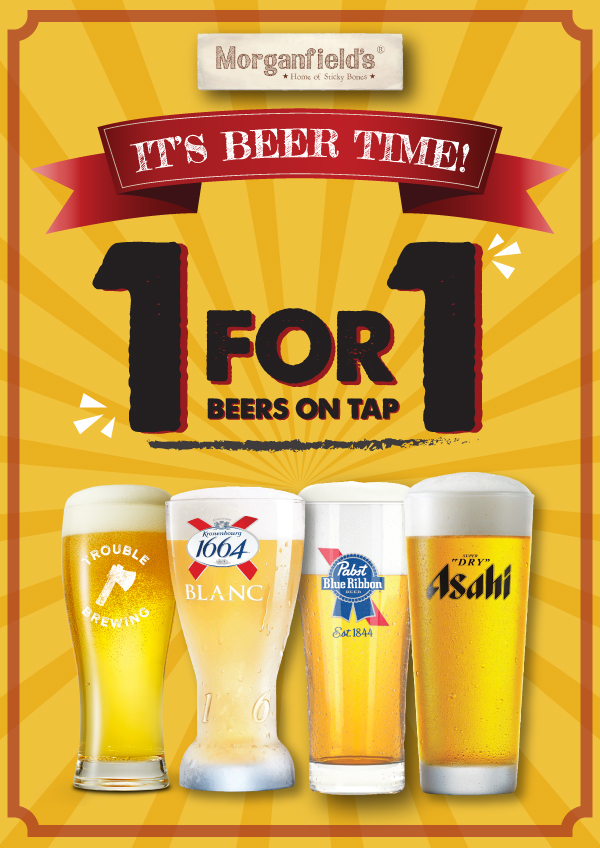 Morganfield's Singapore 1-for-1 Beers October Promotions 1-31 Oct 2020 | Why Not Deals
