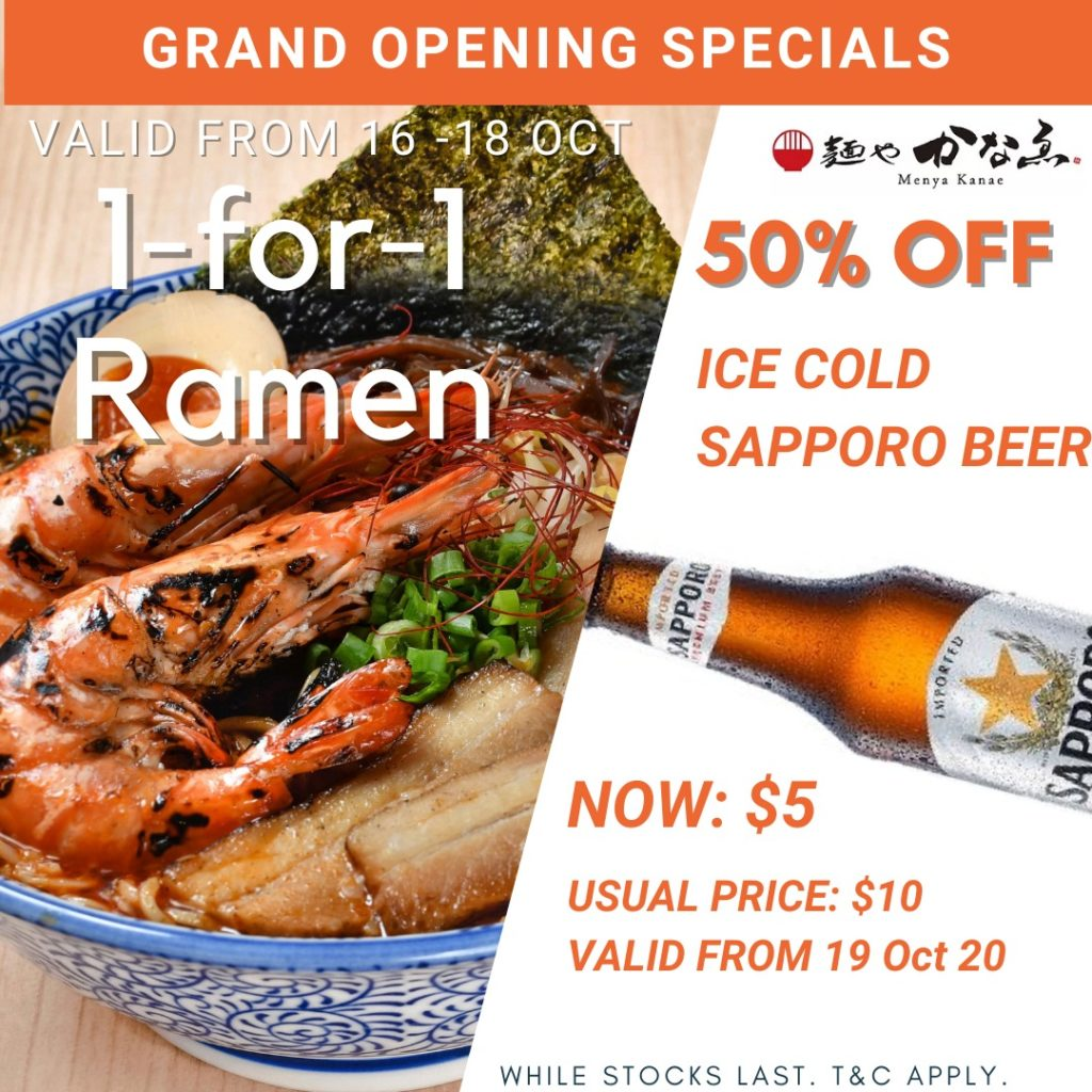 Menya Kanae Grand Opening Special: 1-For-1 Hokkaido-style Ramen (16-18 October 2020) & $5 Happy Hour   Why Not Deals 1
