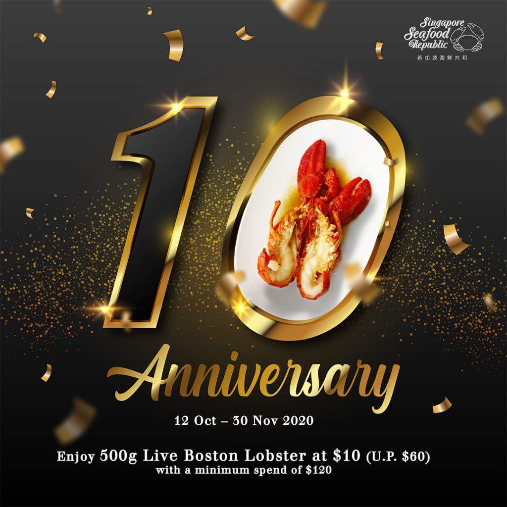 500g of Live Boston Lobster at only $10 with min. spend of $120 at Singapore Seafood Republic   Why Not Deals 1
