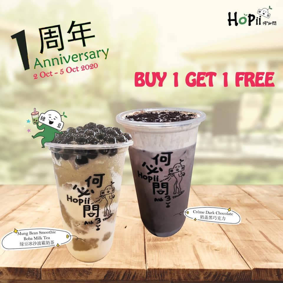 Hopii Singapore 1st Anniversary Buy 1 Get 1 FREE Promotion 2-5 Oct 2020 | Why Not Deals 2