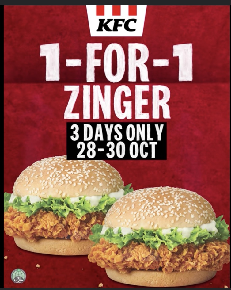 KFC Singapore 1-for-1 Zinger Promotion 28-30 Oct 2020 | Why Not Deals