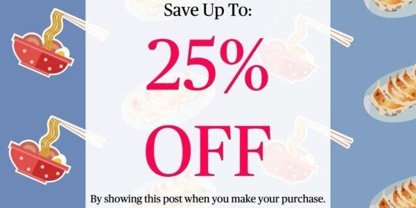 Kure Menya Singapore Show FB Post & Get Up To 25% Off Promotion