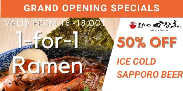 Menya Kanae Grand Opening Special: 1-For-1 Hokkaido-style Ramen (16-18 October 2020) & $5 Happy Hour
