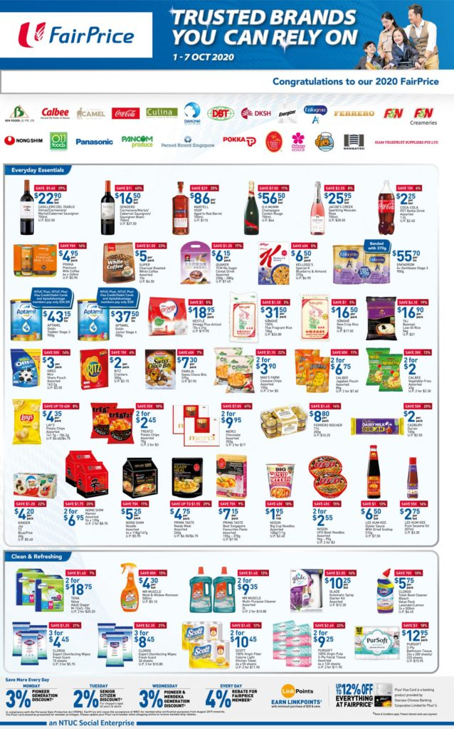 NTUC FairPrice Singapore Your Weekly Saver Promotions 1-7 Oct 2020 | Why Not Deals 8