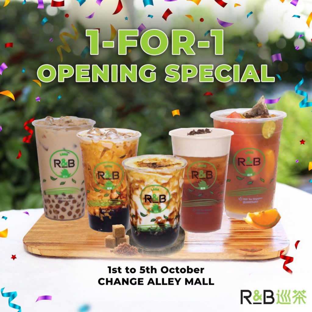 R&B Tea Singapore New Outlet Opening 1-for-1 Promotion 1-5 Oct 2020 | Why Not Deals