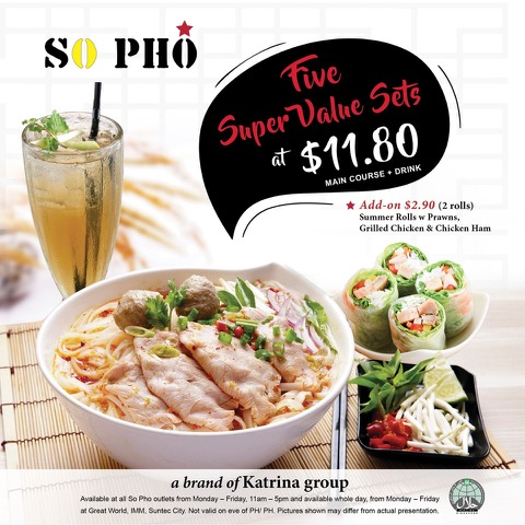 """So Pho is offering five super value sets at $11.80 just """"pho"""" you from 29th October onwards! 
