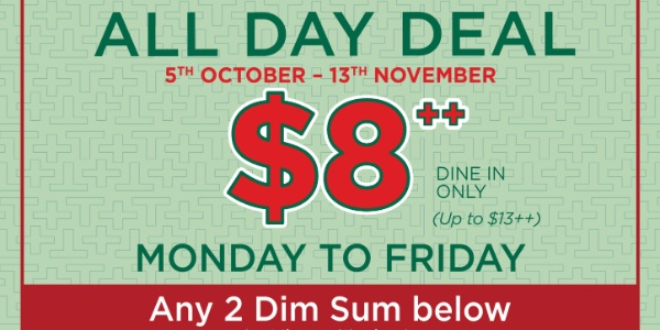 Tim Ho Wan Weekday All-Day Dim Sum deal, $8++ for any 2 selected dim sum items