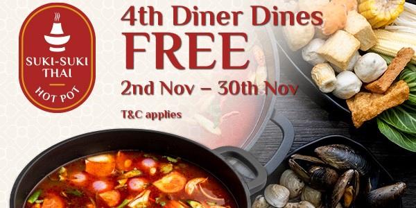 4th Diner Dines Free at Suki Suki Thai : All-you-can-eat Halal Thai Hot Pot Buffet