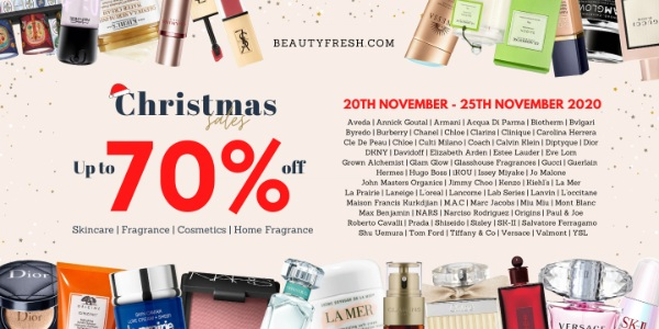 Beautyfresh X'mas Warehouse Sale up to 70% off La Mer, Estee Lauder, Kiehl's, Shiseido, Jo Malone and more