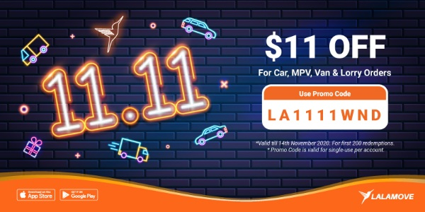 🚨Lalamove's 11.11 Special! $11 off your Delivery!