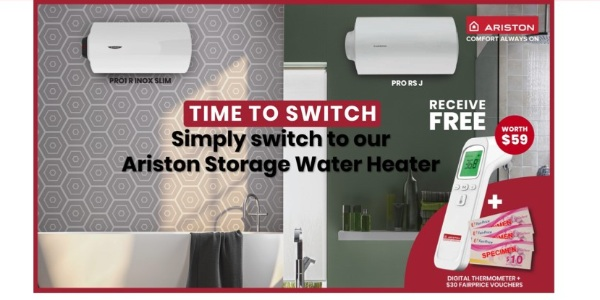 FREE $30 FairPrice Vouchers + Digital Thermomoter (Worth $59)  from Ariston (T&Cs Applies*)!