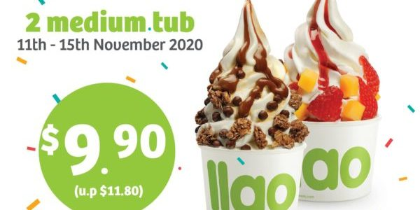 llaollao Singapore 11.11 Special 2 Medium Tubs For Only $9.90 Promotion 11-15 Nov 2020
