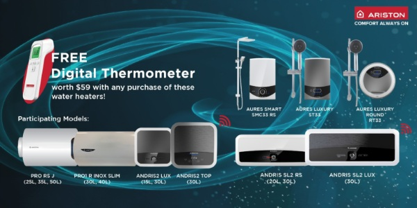Receive a FREE Digital Thermometer (Worth $59) with Purchase of Selected Ariston Water Heater Models