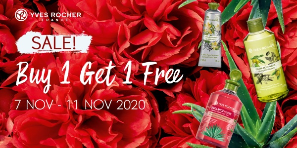 Yves Rocher: BUY 1 GET 1 FREE STOREWIDE (7 – 11 Nov)