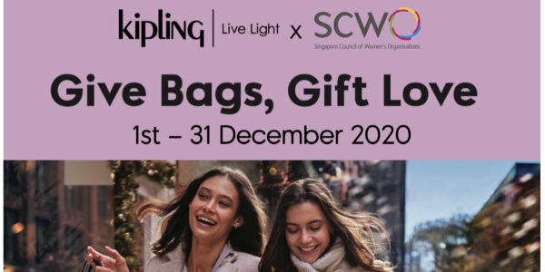 1-31 Dec 2020: Kipling Give Bags, Gift Love (Donate bags and Receive $50 Kipling voucher)