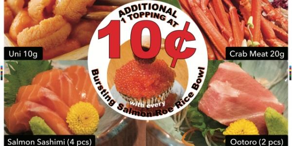 Amazing Hokkaido's 10 Cents Topping for Ikura Bowl Returns