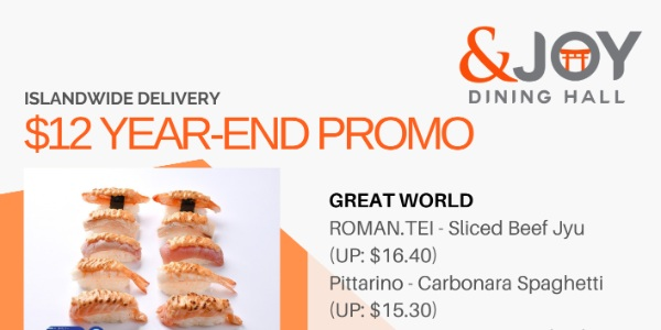 [Promo] $12 Year-End Promo from &Joy Dining Hall, Islandwide Delivery Exclusive!