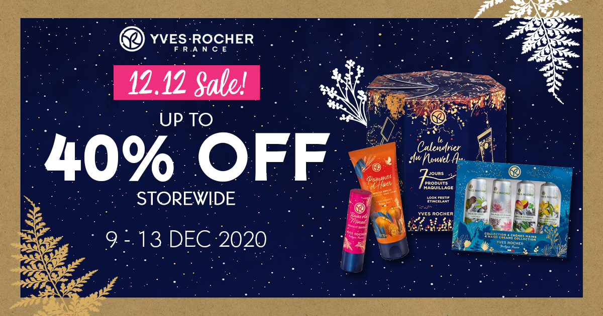 Yves Rocher Singapore 12.12 Sale Up To 40% Off Promotion 9-13 Dec 2020