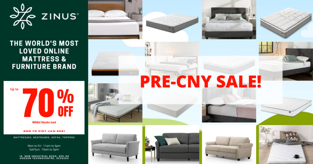 Zinus Pre-CNY Sale! Up to 70% Off!  Mattress from $99! (13th to 31st Jan 2021) | Why Not Deals 1