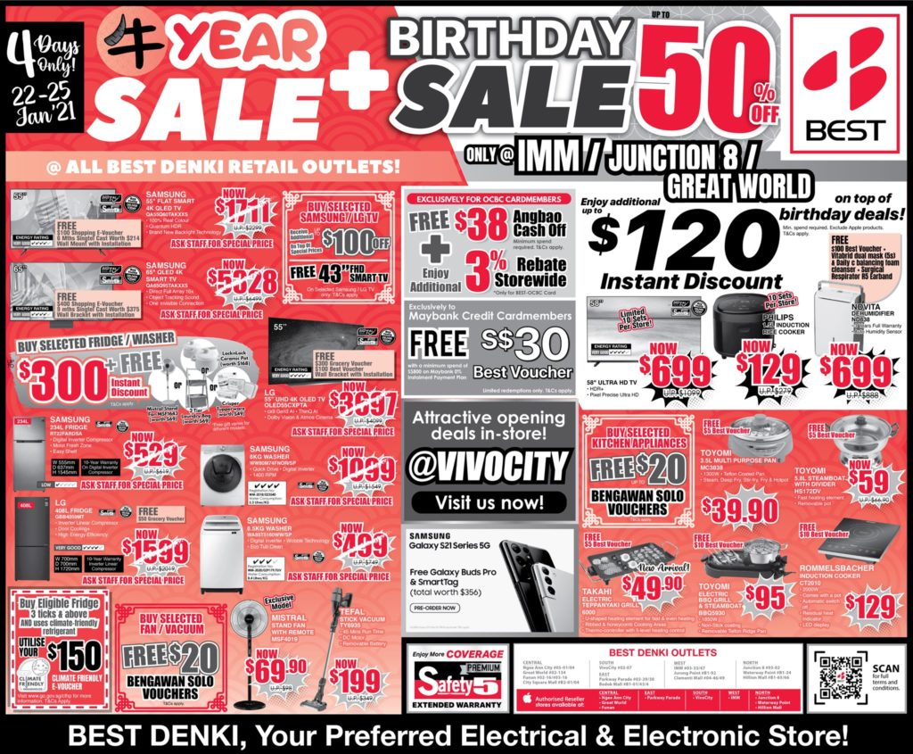 BEST Denki Singapore Chinese New Year Sale + Birthday Sale Up To 50% Off Promotion 22-25 Jan 2021 | Why Not Deals