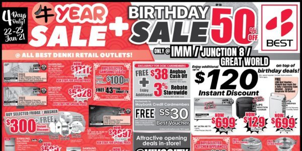 BEST Denki Singapore Chinese New Year Sale + Birthday Sale Up To 50% Off Promotion 22-25 Jan 2021