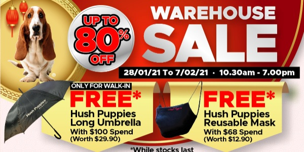 Celebrate Chinese New Year with Hush Puppies Apparel WAREHOUSE SALE up to 80% off!