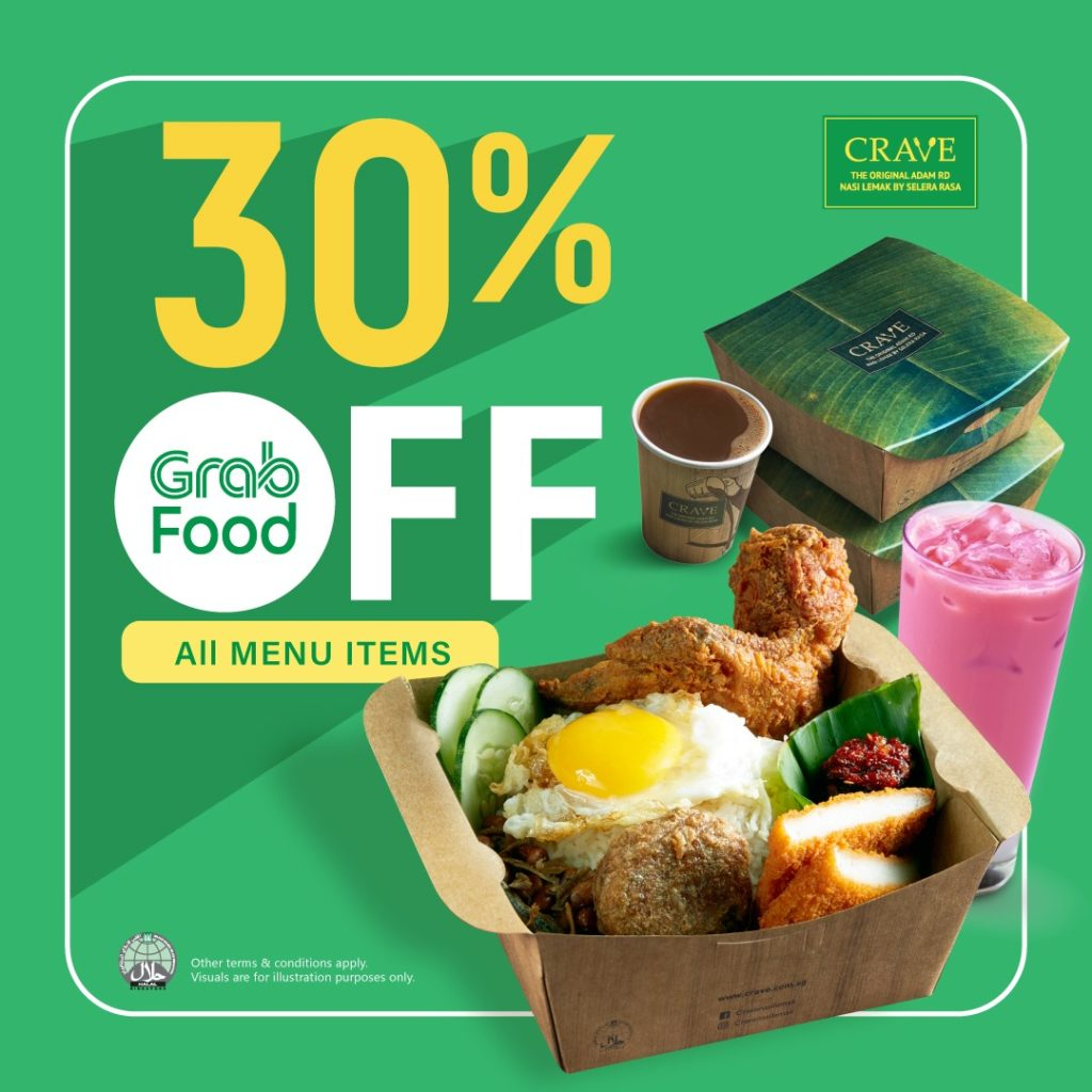 CRAVE Singapore GrabFood 30% Off Promotion ends 31 Jan 2021 | Why Not Deals