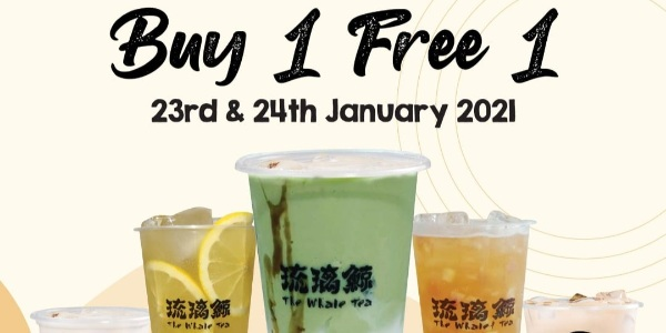 The Whale Tea Singapore Jurong Point Outlet Grand Opening 1-for-1 Promotion 23-24 Jan 2021