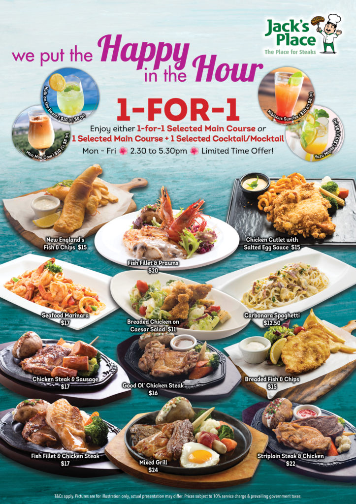 Jack's Place Singapore 1-for-1 Selected Main Course Or 1-for-1 Selected Main Course + Cocktail/Mocktail Promotion | Why Not Deals