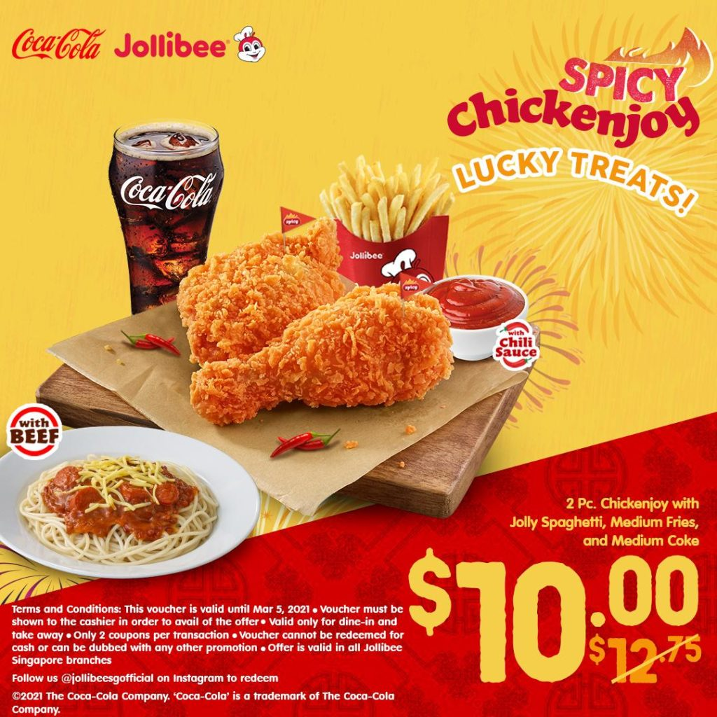 Jollibee Singapore JOLLIBEE LUCKY TREATS Flash to Redeem Promotion ends 5 Mar 2021 | Why Not Deals 1