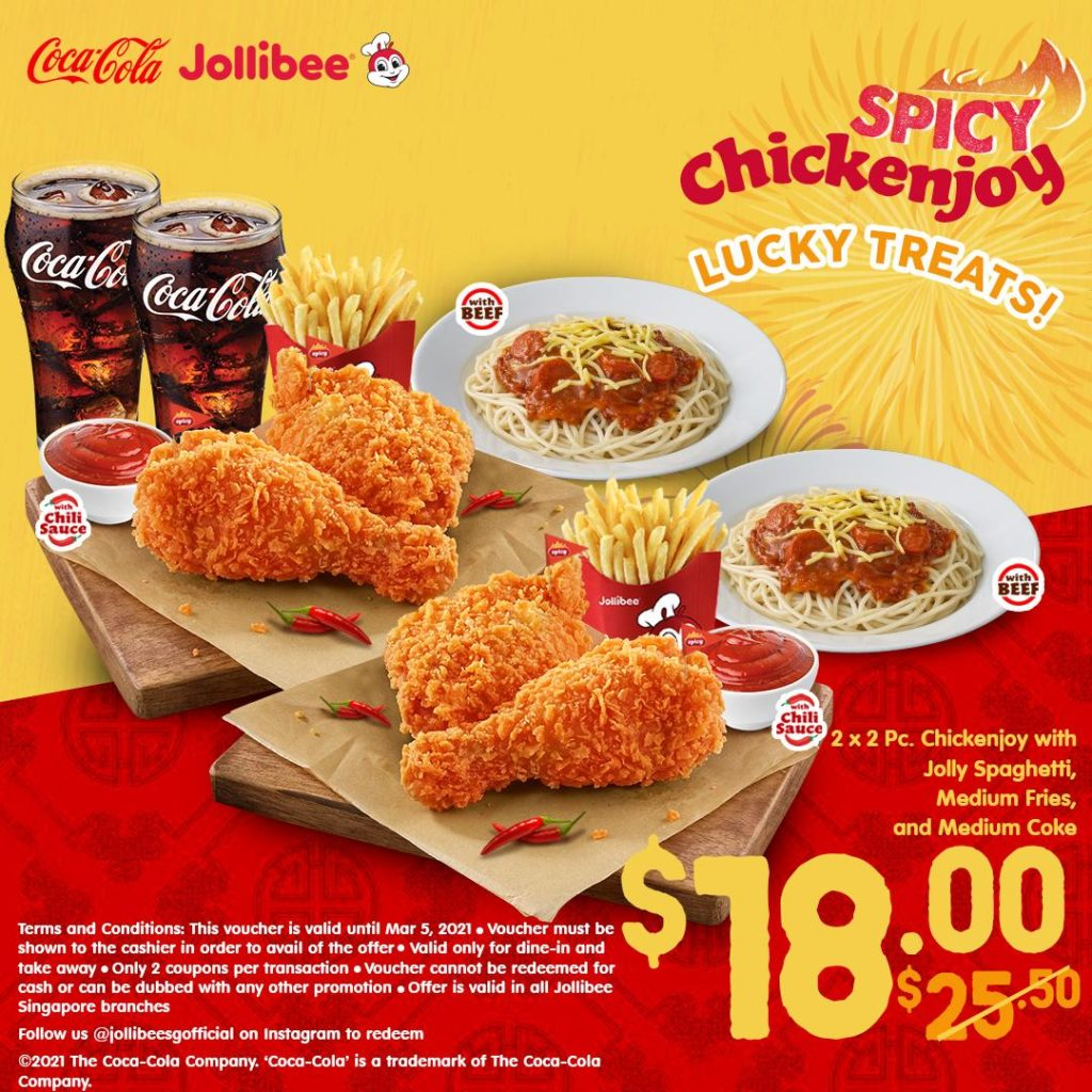 Jollibee Singapore JOLLIBEE LUCKY TREATS Flash to Redeem Promotion ends 5 Mar 2021 | Why Not Deals 2