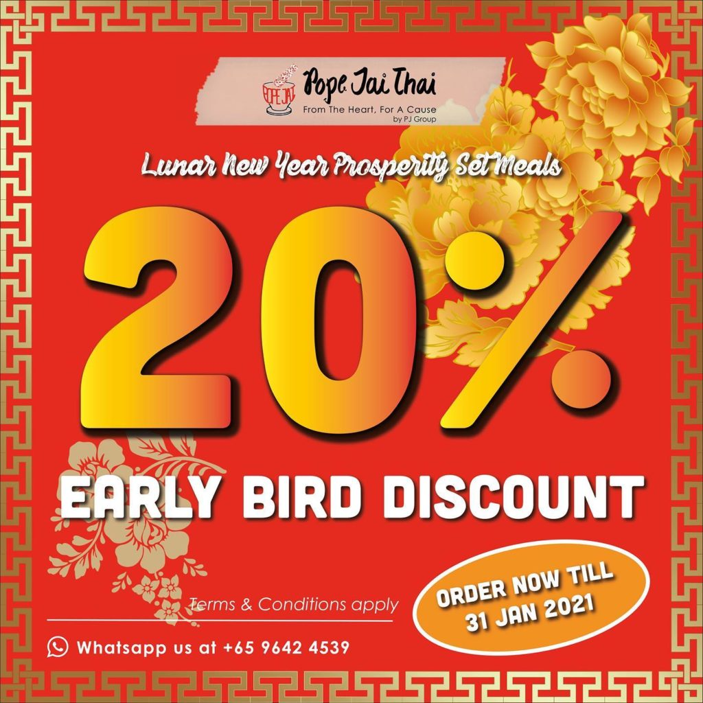 Pope Jai Thai Singapore Lunar New Year Prosperity Set Meals 20% Off Early Bird Promotion ends 31 Jan 2021 | Why Not Deals 1