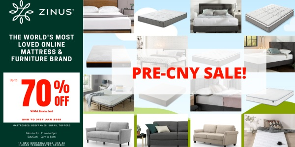 Zinus Pre-CNY Sale! Up to 70% Off!  Mattress from $99! (13th to 31st Jan 2021)