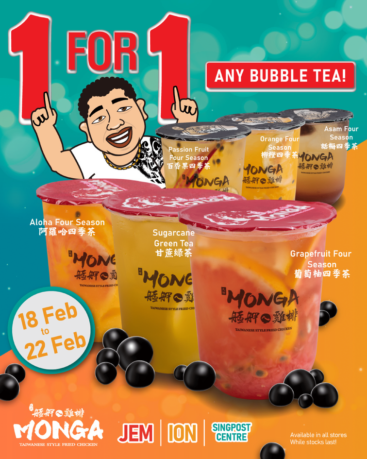 [Promo] 1 for 1 Fruity Bubble Tea available at Monga Singapore for only $5.50 | Why Not Deals 1