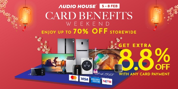 [Audio House Card Benefits Weekend] Enjoy Extra 8.8% OFF with Any Card Payment!