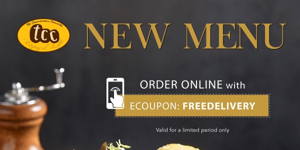 Enjoy FREE Delivery on tcc's new menu!