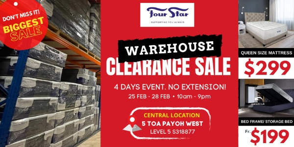 Four Star ANNUAL CLEARANCE SALE | Toa Payoh Warehouse