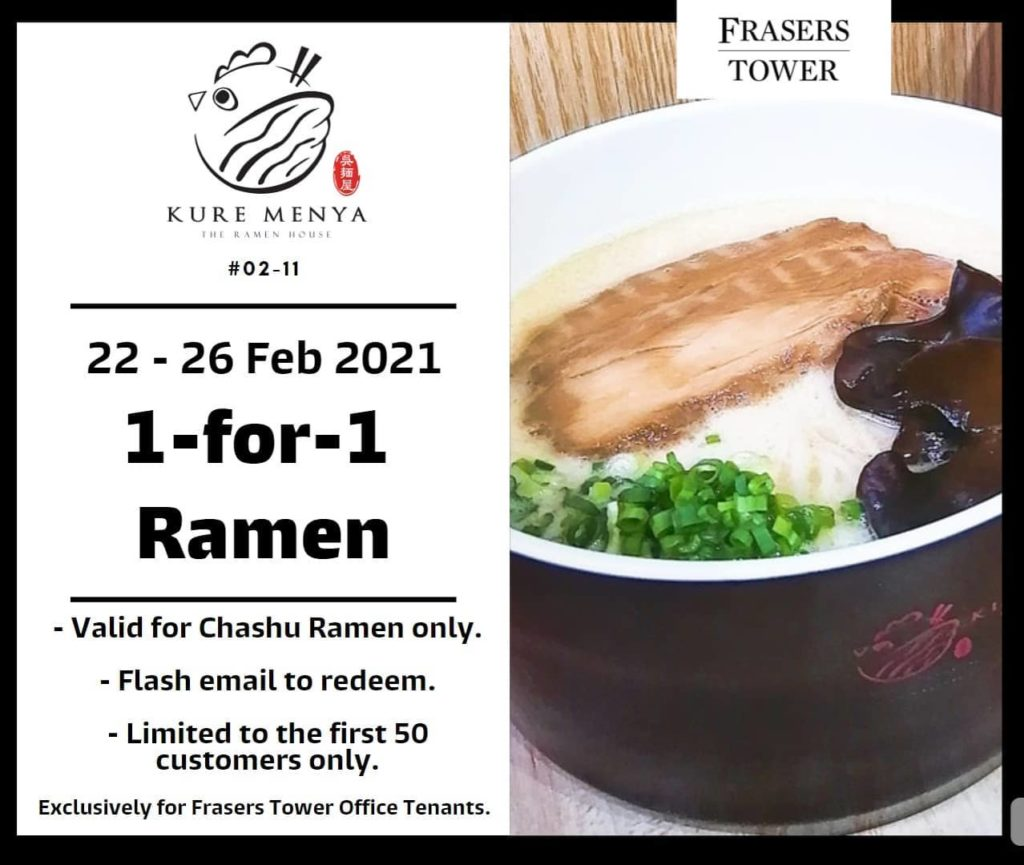 Kure Menya Singapore 1-for-1 Chashu Ramen Promotion 22-26 Feb 2021 | Why Not Deals