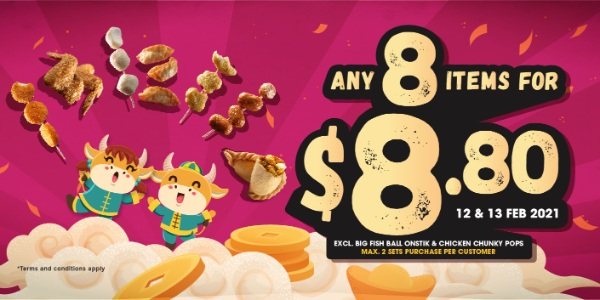 Old Chang Kee CNY Promo – Any 8 items for $8.80