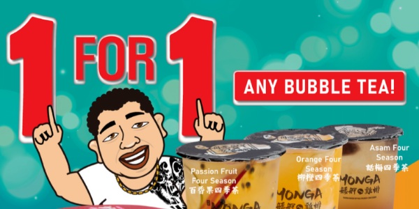 [Promo] 1 for 1 Fruity Bubble Tea available at Monga Singapore for only $5.50