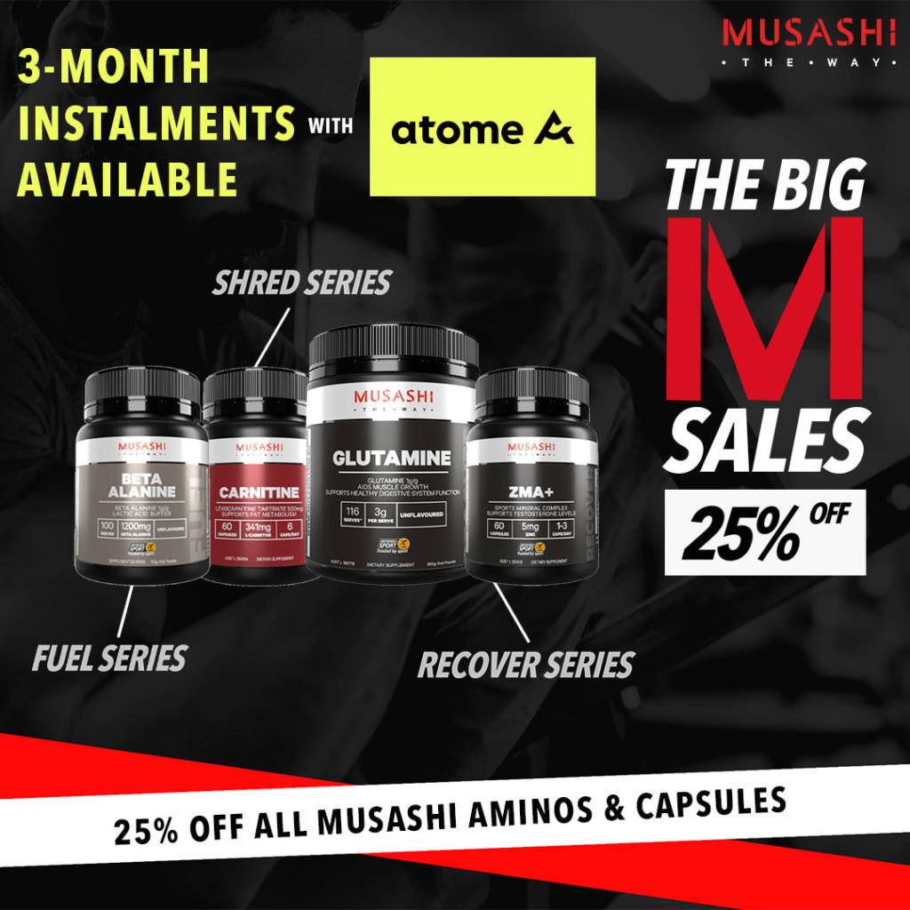 Musashi Workout Supplement Big M Sale ends 31 Mar 2021 | Why Not Deals 1