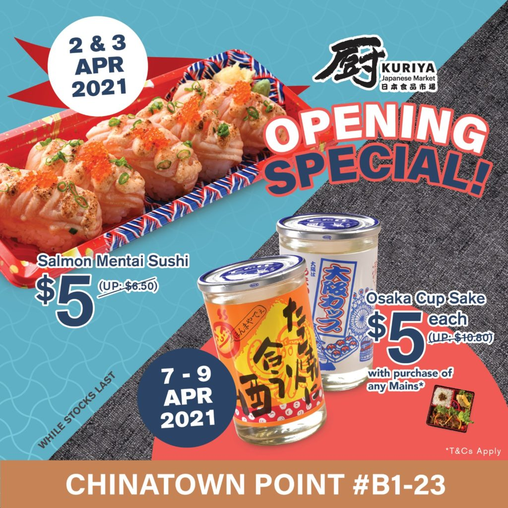 Kuriya Japanese Market Opens 11th Outlet at Chinatown Point with $5 Sushi & Sake Deals! | Why Not Deals