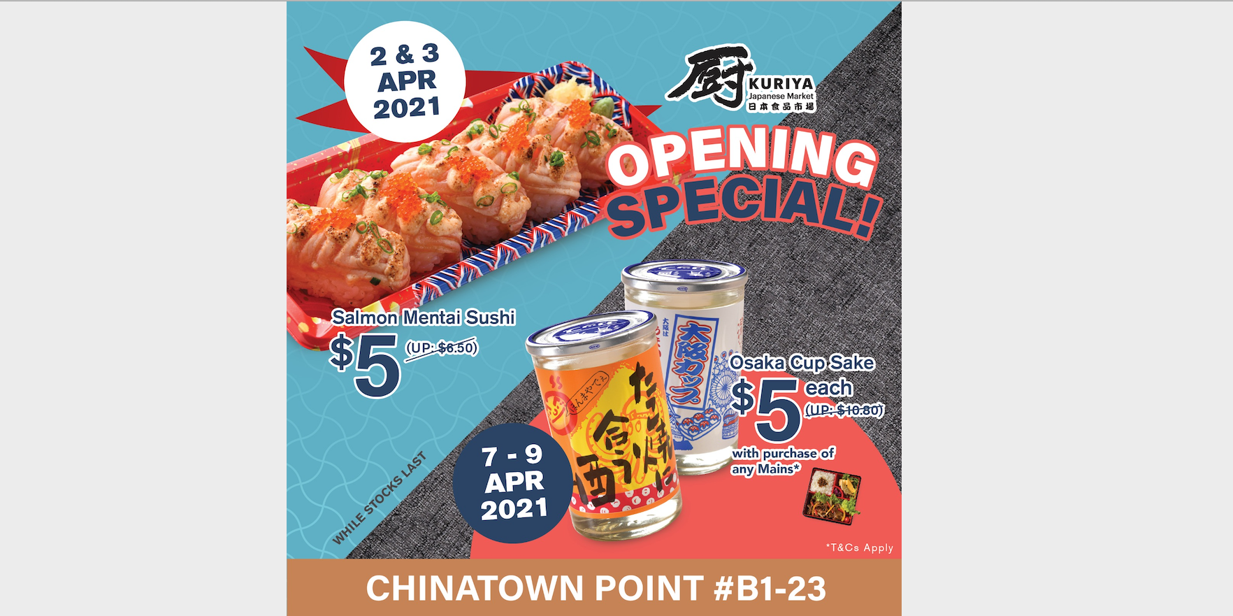 Kuriya Japanese Market Opens 11th Outlet at Chinatown Point with $5 Sushi & Sake Deals!