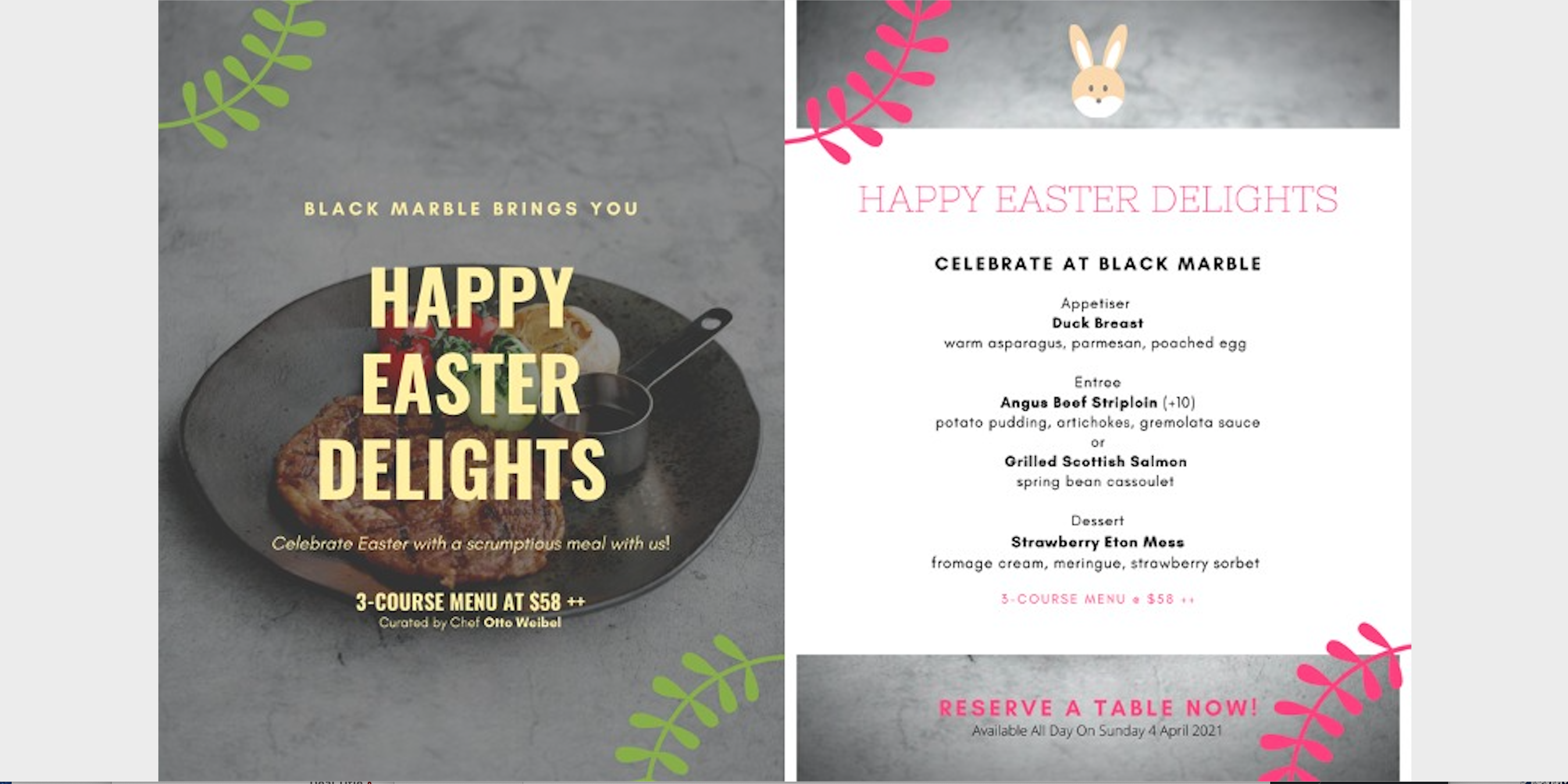 Celebrate Easter with an exquisite menu specially curated by renowned Chef Otto Weibel!