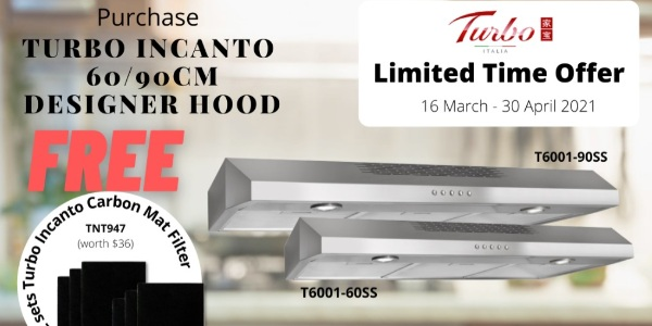Get FREE 6 pieces of Carbon Mat Filter With Any Purchase of Turbo Incanto T6001 Designer Hood!
