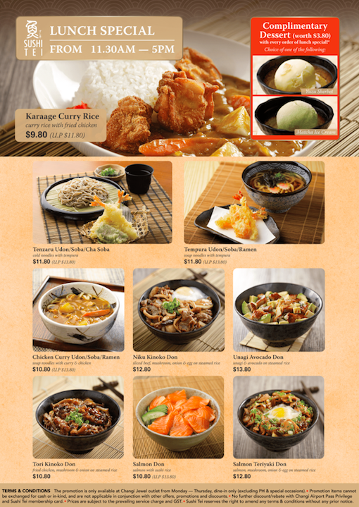 Sushi Tei lunch menu special with complimentary dessert at Changi Jewel's Outlet!  | Why Not Deals